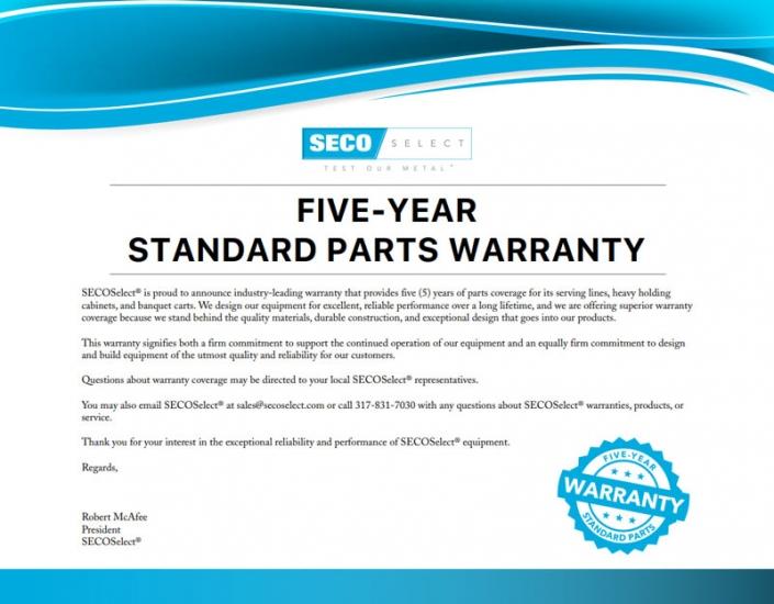 SECOSelect® 5-Year Standard Parts Warranty